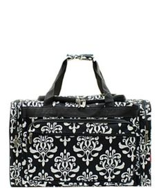 647493e1819a 20 inch Damask Bloom Print Canvas Monogrammed Duffle Bag Black and White