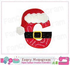 Christmas Monogram G applique Letter GSanta Claus by FancyMonogram