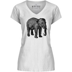 Mintage Elephant with a Flower Womens V-Neck T-Shirt