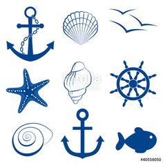 Sea icon set Anker, Schale, Vogel, Seestern, Rad Maritime symbols instead of table numbers Icon Set, Starfish Drawing, Sea Tattoo, Icon Collection, Illustration, Grafik Design, Silhouette Projects, Silhouette Cameo, Nautical Theme