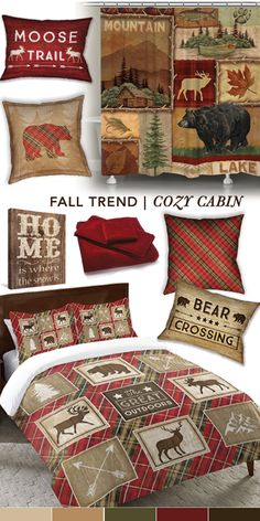 Decorate your home with various plaids and wood textures to give it that cozy cabin feel. Decorate your home with various plaids and wood textures to give it that cozy cabin feel. Colchas Country, Country Decor, Rustic Cabin Decor, Lodge Decor, Mountain Cabin Decor, Rustic Cabins, Log Cabins, Cozy Cabin, Cozy House