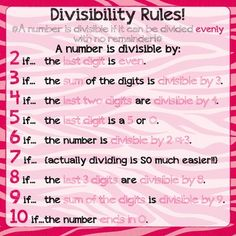 Divisibility Rules Poster ★♥★ Being familiar with divisibility is SO important in a middle school math classroom. Math Teacher, Math Classroom, Teaching Math, Teaching Ideas, Future Classroom, Classroom Ideas, School Resources, Math Resources, Divisibility Rules
