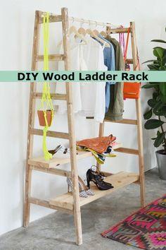 DIY Wood Ladder Rack - http://comfyhomeideaz.com/diy-wood-ladder-rack/