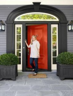 Red door + dark and light trim by may