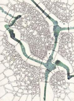"""Emily Garfield. Downtown (Cityspace #115). Acrylic wash, pen, watercolor. 8""""x10"""""""