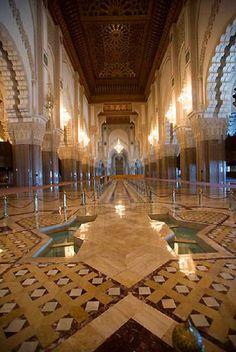 Interior of Hassan II mosque in Casablanca, Morocco