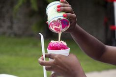 With some sweet milk please! This is the only snow we need in Barbados. A delicious sno-cone with milk. Photo compliments Caribbean Loves Cooking If you heart emoticon our culture, beaches, people and our island, then become a fan of Beautiful Barbados Barbados, Trinidadian Recipes, Trini Food, Island Food, Island Life, Caribbean Recipes, Caribbean Food, Caribbean Culture, Snow Cones