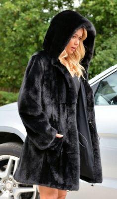mink furs - royal saga mink fur coat with beautiful big hood