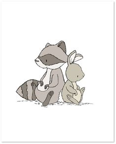 Woodland Nursery Art -- Lean On Me -- Raccoon and Bunny by SweetMelodyDesigns