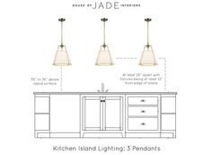 Selecting the Right Lighting for Your Kitchen Island – House of Jade Interiors B… - All For Decoration Kitchen Island Lighting, Kitchen Pendant Lighting, Kitchen Pendants, Island Pendants, Pendant Lamps, Kitchen Lights Over Island, Kitchen Island Light Height, Island Lighting Fixtures, Over Island Pendant Lights