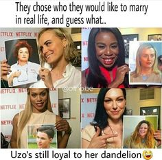 I totally agree with Laura(Alex)! I would totally choose Nicky! Taylor Schilling, Orange Is The New Black, Oitnb Nicky, Funny As Hell, Tv Funny, Funny Memes, Lgbt, Netflix, Alex And Piper