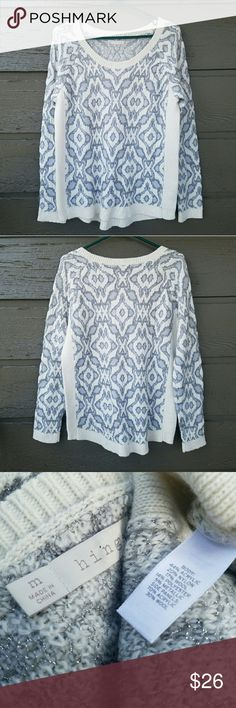 Hinge Silver Cream and Purple Patterned Sweater Gorgeous! Length- front 25.5 in, back 28 in Excellent condition  Feel free to ask me any additional questions! Reasonable offers  are considered. Happy Poshing!! No trades, or modeling Nordstrom Sweaters