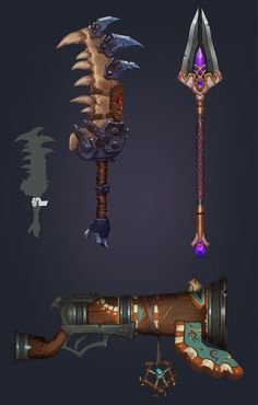 Warcraft Fan Art- Weapons, Ian Jacobson on ArtStation at… Weapon Concept Art, Game Concept Art, Prop Design, Game Design, Paint Games, Hand Painted Textures, 3d Mesh, 3d Texture, Game Item
