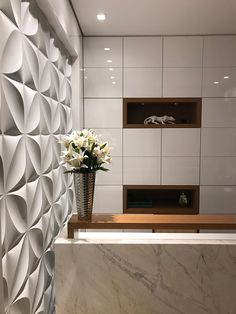Left side wall as a feature textured wall Medical Office Design, Modern Office Design, Office Furniture Design, Clinic Interior Design, Clinic Design, Attic Bedroom Designs, Reception Desk Design, Hotel Decor, Office Interiors