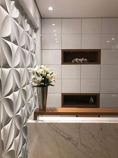 Left side wall as a feature textured wall Medical Office Design, Dental Office Design, Modern Office Design, Office Furniture Design, Clinic Interior Design, Clinic Design, Reception Counter Design, Hotel Decor, Office Interiors