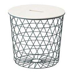 IKEA - KVISTBRO, Table de rangement, , Le panier est idéal pour ranger couvertures, oreillers ou journaux, mais il peut également rester vide pour plus de sobriété.Une poignée percée dans le plateau de table facilite l'ouverture et l'accès à l'intérieur du panier.Le design ouvragé de la table permet de la porter et la déplacer facilement.Peut être utilisée comme table basse, console ou table de nuit.