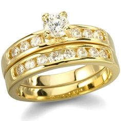 Venice's Gold Plated Imitation Diamond Engagement Ring Set