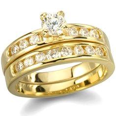 Venice's Gold Plated Imitation Diamond Engagement Ring Set