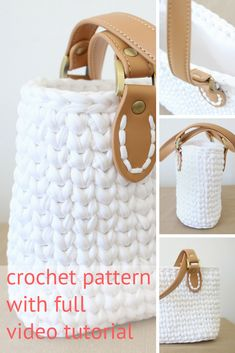Super cute crochet handbag pattern with full video tutorial with subtitles and step-by-step pictures. Click to view on Ravelry. Pattern uses tshirt yarn.