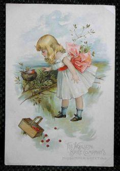 ★1891 antique LION COFFEE TRADE CARD child bird nest su