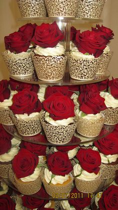 rich red rose wedding tower cupcakes