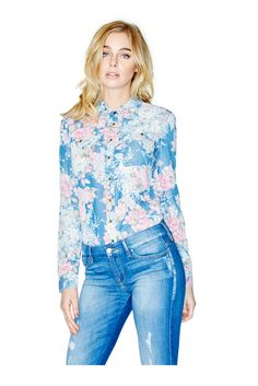 Chambray Floral-Print Oversized Button-Down Shirt | GUESS.com