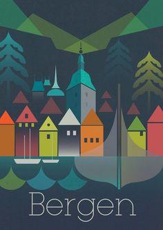 297 x 420 mm by GraffikHeart Travel Illustration, Retro Illustration, Illustrations, Vintage Ski, Vintage Travel Posters, Europe Train Travel, Tourism Poster, Norway, Digital Prints