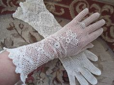 Vintage Lace Long Gloves | Vintage 1920s Long Irish Lace White Creme Cotton Crochet Floral Flower ...
