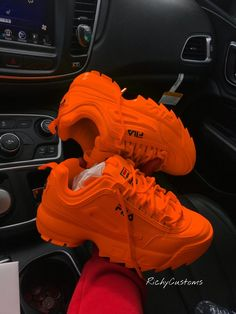 Image of tangire fila disuruptor ii 20 cute shoes with women fall outfits Sneakers Mode, Sneakers Fashion, Fashion Shoes, Sneakers Workout, Sock Shoes, Shoe Boots, Hype Shoes, Fresh Shoes, Orange Shoes