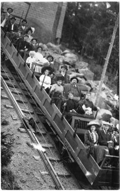 Manitou Incline, Manitou Springs, CO, was built in 1907 and closed by a rockslide in 1990. The Manitou Incline averages almost a 40% grade, gaining 2,011 feet in elevation over a length of approximately one mile with the maximum grade being 68%.
