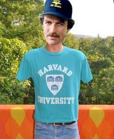 vintage 80s t-shirt HARVARD university teal ivy league tee Medium cropped rare by skippyhaha, $16.00