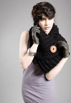 Spratters and Jayne 1-Button Lapel Cowl, neckwarmer, shrug, crochet, chunky, knit - via Etsy.