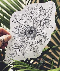 La imagen puede contener: planta y flor - Flower Tattoo Designs Hand Tattoos, Unique Tattoos, Body Art Tattoos, Sleeve Tattoos, Tatoos, Script Tattoos, Circle Tattoos, Owl Tattoos, Tattoo Sleeves