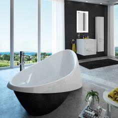Baignoire Cedam - Galante. Cette baignoire îlot offre un beau contraste noir et blanc. Ce modèle aux courbes harmonieuses s'intègre parfaitement dans une composition claire et lumineuse. Egalement disponible en blanc en fintion mate ou brillante. #baignoire #bath