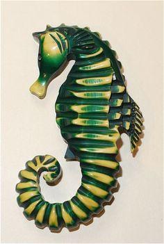 Carved Bakelite Seahorse Pin