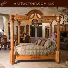 Custom Hand Carved Canopy Bed: Fine Art Designs By H. Nick - the finest quality furniture available anywhere at any price Bedroom Bed, Bedroom Furniture, Wooden Bedroom, King Platform Bed Frame, Latest Bed, Wood Bed Design, Duplex House Design, Antique Beds, Wood Beds