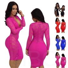 0030d20e808 Online Shop New 2014 women summer dress lace long sleeve sexy club  knee-length stretch evening party elegant bodycon party dresses plus size
