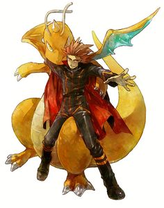 Champion Lance and Dragonite-- I'm sorry but it looks like Dragonite bit his arm off