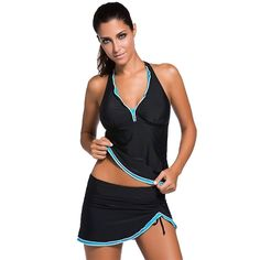 (26.39$)  Watch here  - Sexy Women Swimsuit Tankini V Neck Halter Backless Skort Bottom Ruched Beach Swimwear Two-piece Bathing Suit Black1/Black2/Blue