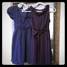Dress Bundle I am selling 2 extremely feminine and decadent summer dresses.  The blue one is delia's brand size 3 while the plum colored one is an off brand size XS.  Both fit like an xs, listing as such.  Each is in great condition however the plum one has a a thread snag, not noticeable when on. delia's Dresses Mini