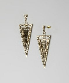Another great find on #zulily! Gold Triple Triangle Drop Earrings #zulilyfinds