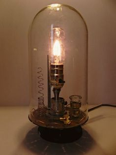 anthropologie inspired bell jar lamp, diy, electrical, home decor, lighting, An Edison style bulb is a unique touch