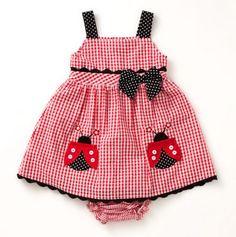 Infant Lady Bug Gingham Dress.