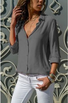 ZOGAA Women Plus Size Chiffon Blouse 2019 Fashion Solid Color Roll Sleeve Office Lady Casual Blouse Summer Tops Women Shirts Plus Size Shirts, Plus Size Blouses, Basic Tops, How To Roll Sleeves, Look Fashion, Street Fashion, Fashion Women, Types Of Sleeves, Shirt Blouses