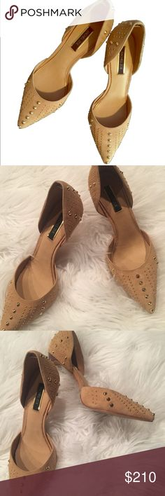 Rachel Zoe Suede tan pumps These gold studded heels are gorgeous!  Suede warm tan color.  Brand new with box and dust bag.  Open to offers Rachel Zoe Shoes Heels