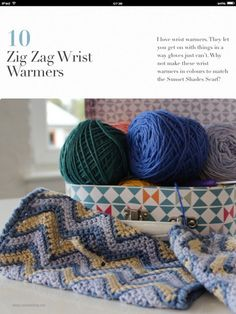 Zig Zag Wrist Warmers from the book Crochet Pretty by Natasja King with iBooks. Crochet Pretty is a collection of ten pretty crochet accessory patterns. The book includes five videos as well as a glossary to crochet stitches. There's even a fun crochet quiz in the last chapter.