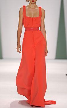 Techno Pique Exposed Seam V-Neck Gown by Carolina Herrera for Preorder on Moda Operandi
