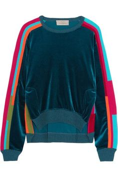 Preen by Thornton Bregazzi - Anouk Color-block Velour And Cotton-blend Sweatshirt - Indigo