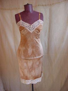 Vintage Full Slip Brown 34 Hand Dyed w Lace Empire Bodice Embellished #Unbranded Seller florasgarden on ebay