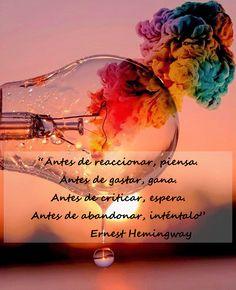 Ernest Hemingway, Spanish Inspirational Quotes, Christmas Bulbs, Mindfulness, Advice, Wisdom, Words, Memes, Instagram
